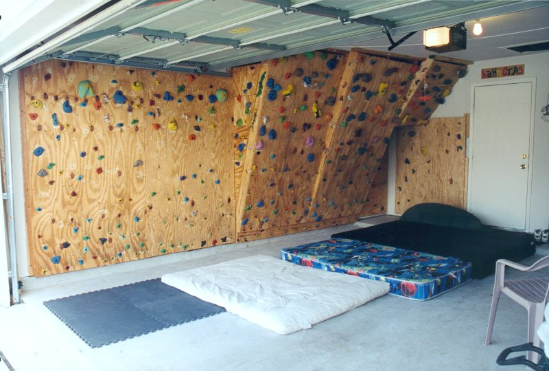 The hahn s homebuilt climbing wall in our garage