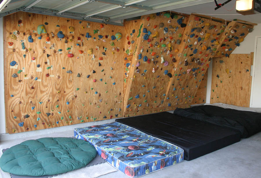 the hahns homebuilt climbing wall in our garage