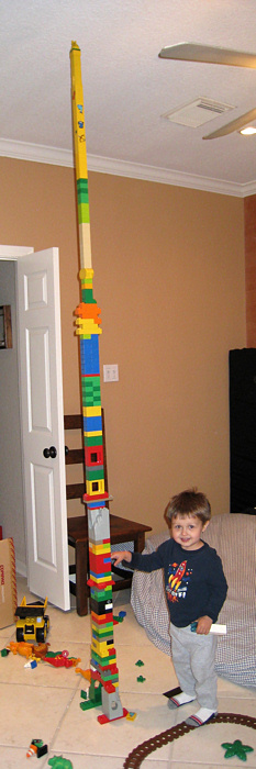 Alex and a Lego Tower